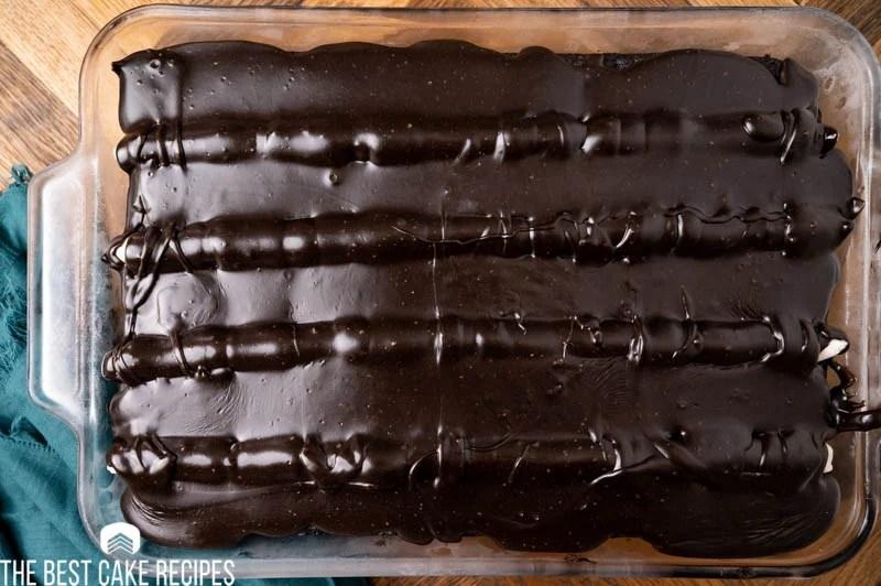 overhead view of a chocolate ckae