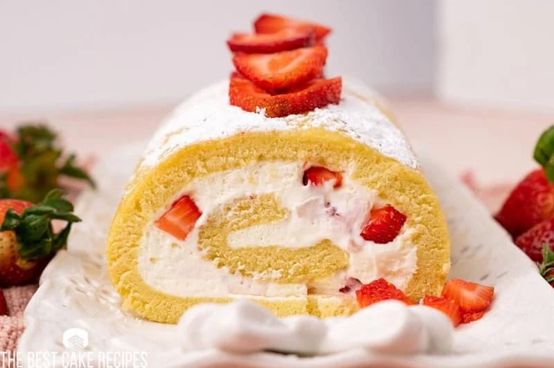 closeup of a strawberry cake roll