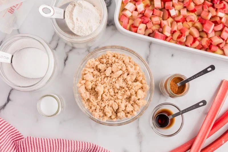 streusel ingredients for cake on a table