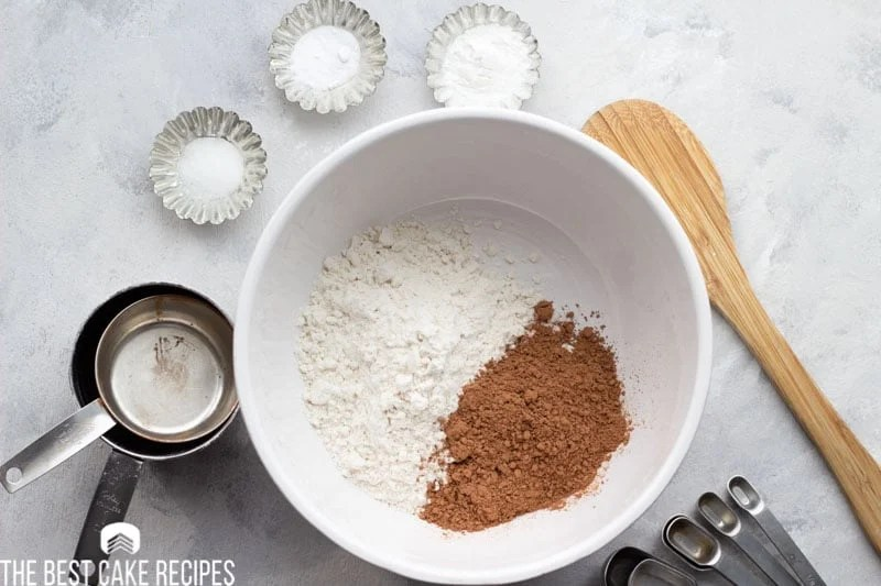 flour and cocoa powder in a mixing bowl