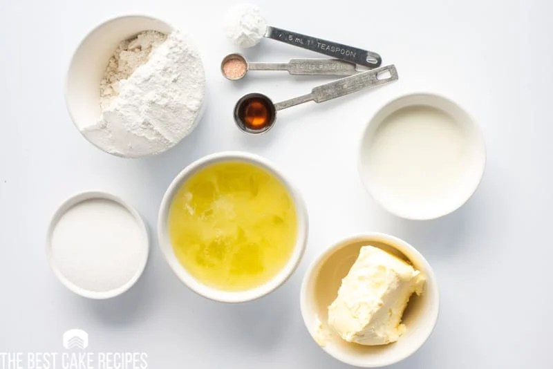 ingredients for white cake on a table