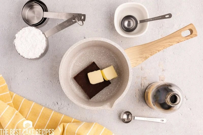 butter and chocolate in a saucepan
