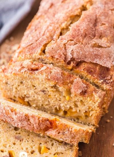 closeup of a loaf of peach bread