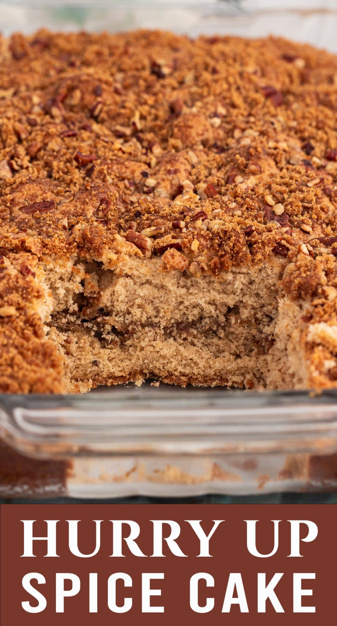 """This homemade cake goes into the oven already """"frosted"""" with a cinnamon sugar nut streusel. Hurry Up Spice Cake is an easy dessert with a warm flavor. via @thebestcakerecipes"""