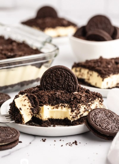 a slice of oreo dirt cake on a plate