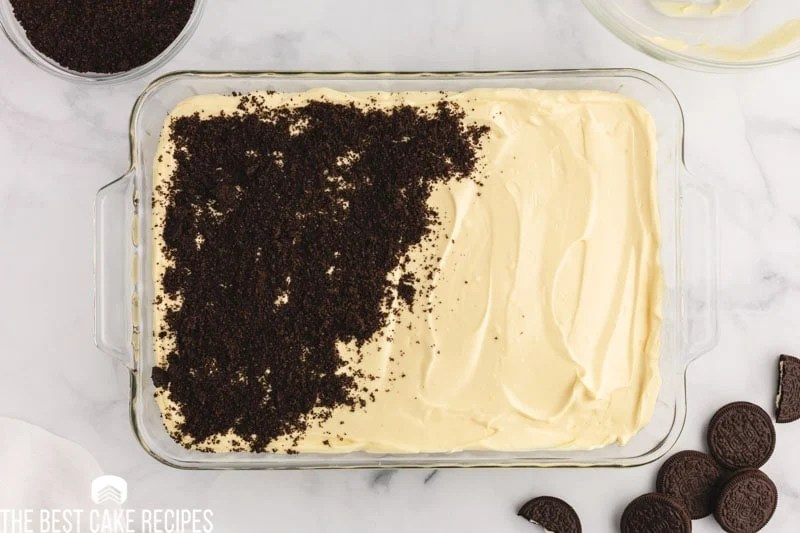 crushed oreos sprinkled over pudding