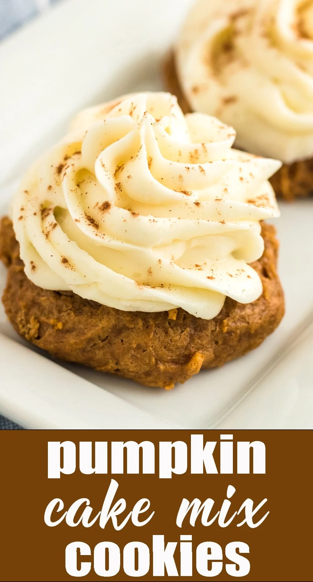 A box mix shortcut keeps these fall flavored cookies quick and easy. Pumpkin Cake Mix Cookies piled high with cream cheese frosting. via @thebestcakerecipes