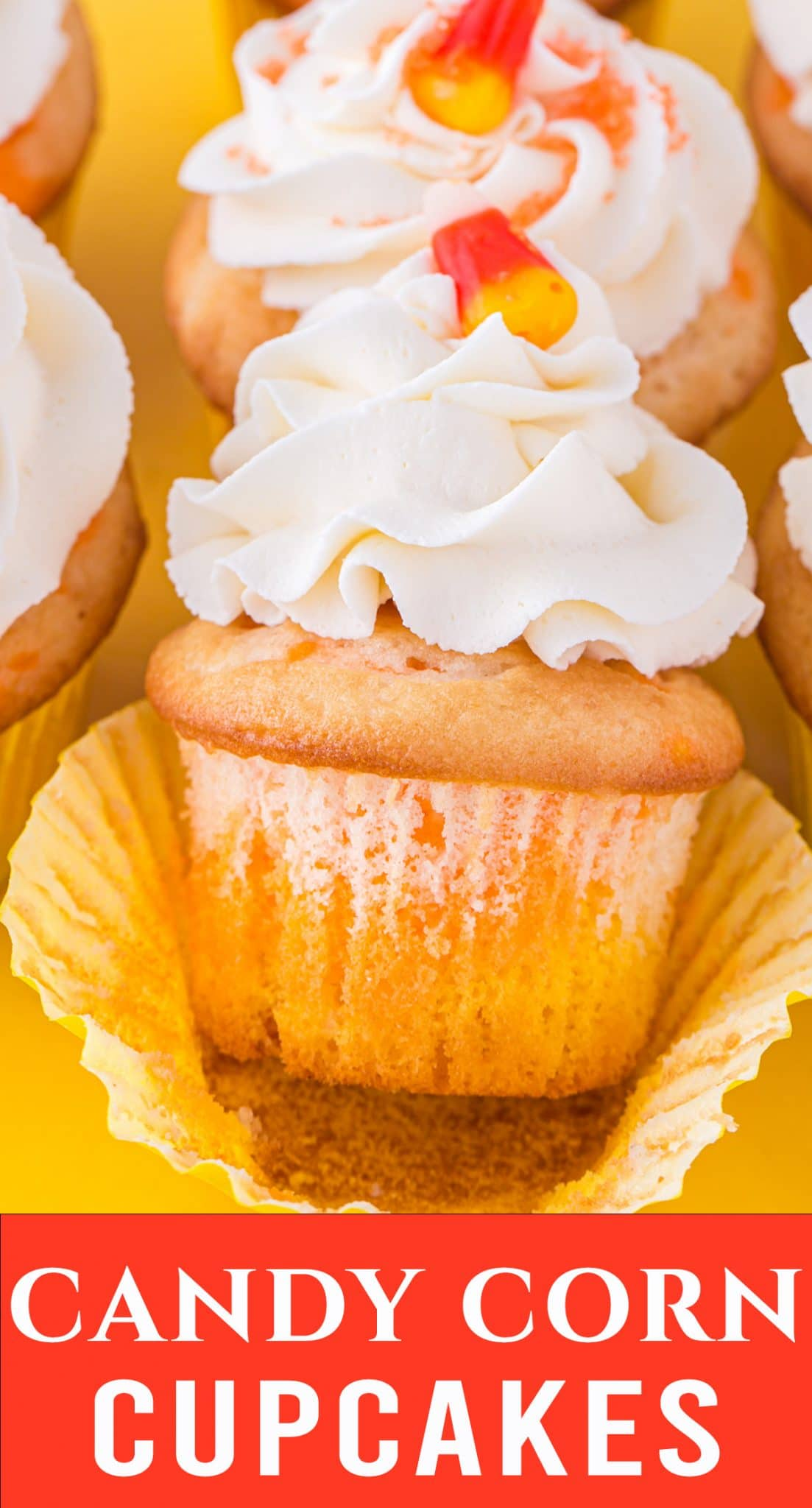 These adorable Candy Corn Cupcakes will be snatched up at any Halloween Party you throw. A box cake mix paired with homemade frosting make this an easy fall dessert. via @thebestcakerecipes