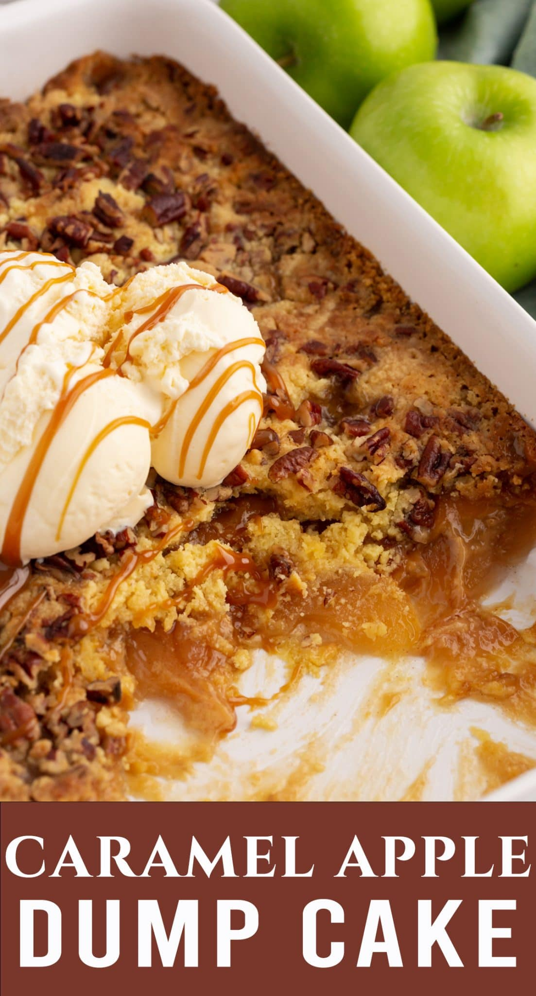 5 minutes prep is all you need to make this delicious Caramel Apple Dump Cake. This layered dessert with apple pie filling has all the flavors of fall. via @thebestcakerecipes