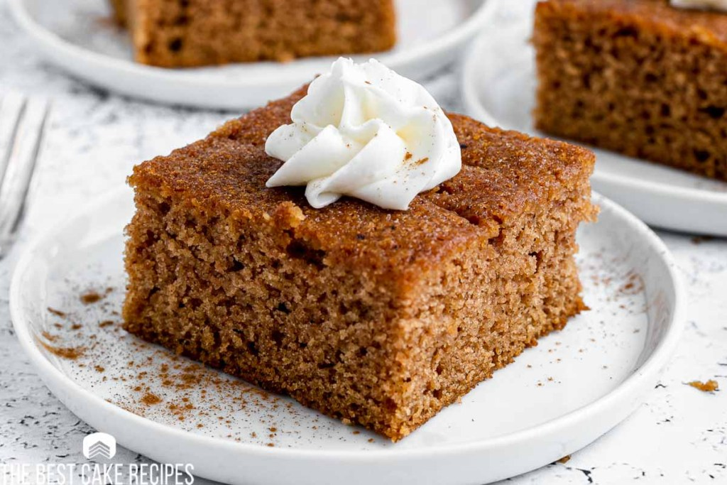 a piece of spiced apple cider cake on a plate