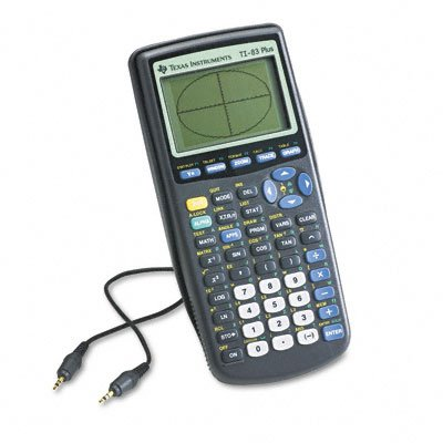 Texas Instruments TI-83 Plus Programmable Graphing Calculator. A cable is also present in the picture