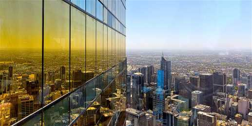 Melbourne Australia - February 2015: View from Eureka Tower observation deck (Eureka Skydeck 88) the highest public vantage point in a building in the Southern Hemisphere. Eureka Tower is designed by Fender Katsalidis Architects (FKA)