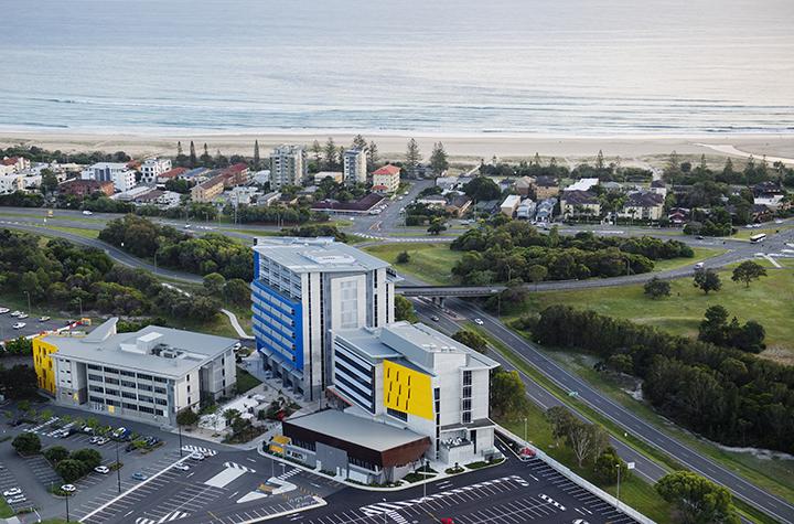 Aerial view of SCU Gold Coast campus and Kirra beach.