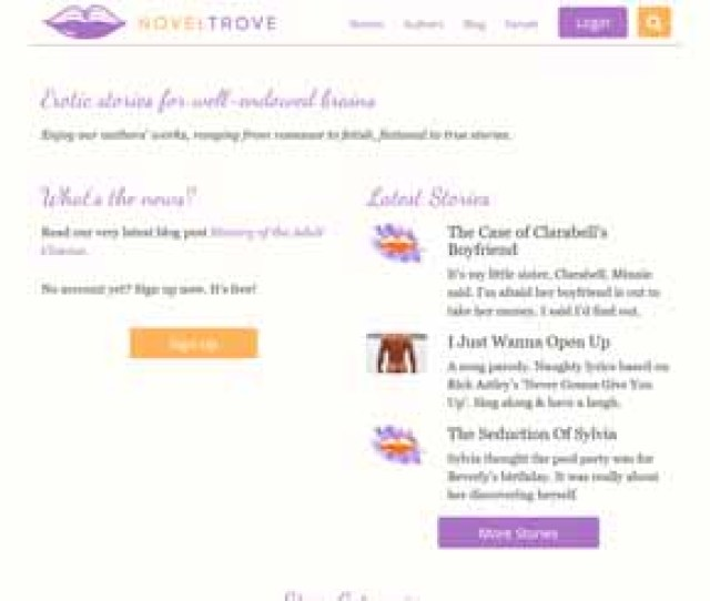 Noveltrove Com Is A Nice Web Archive That Collects The Hottest Erotic Written Material And Shares It For Free It Has A Nice Design And All Stories Are