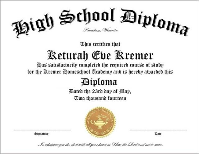 30 Free High School Diploma Template Printable