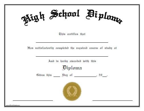 High School Diploma Template - Printable Certificate Templates!!