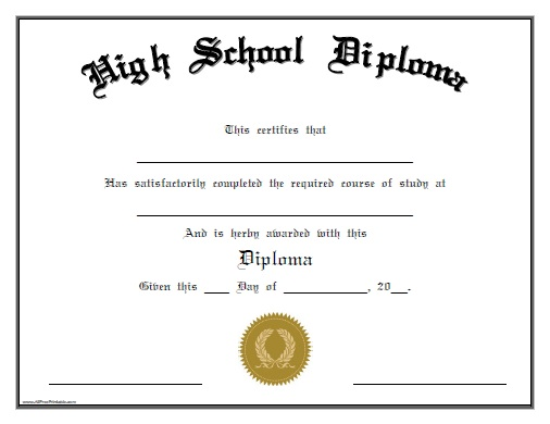 High School Diploma Templates Free  Diploma Word Template