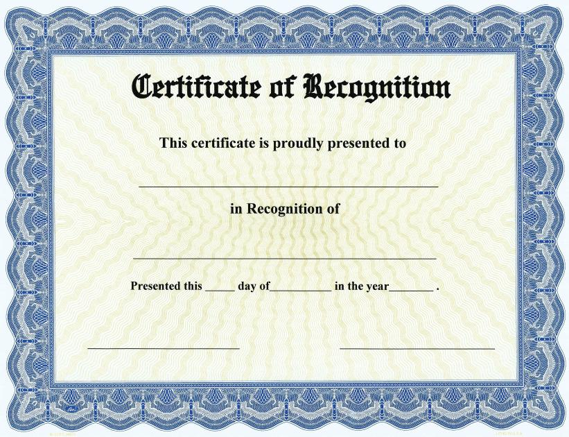 Certificate Of Recognition Template Word Excel Pdf