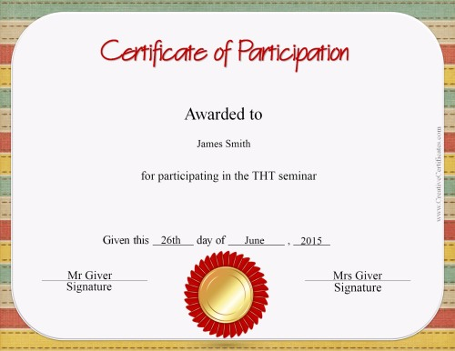 Free certificate of participation templates for download for Certificate of participation template