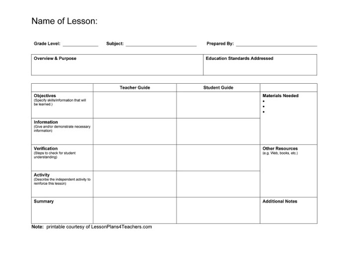 lesson plan templates for teachers