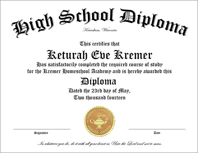 High School Diploma Template  Printable Certificate Templates