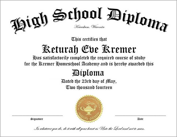 High School Diploma Template  Graduation Certificate Template Free
