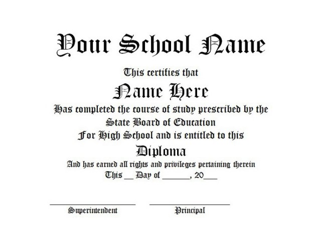 high school diploma certificate