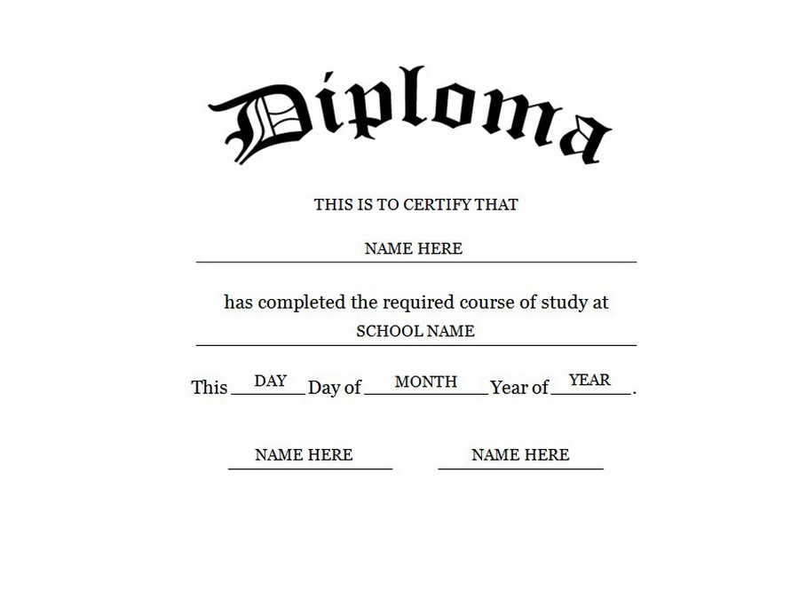 graphic regarding Free Printable Diplomas titled Blank Higher Faculty Degree Template No cost Printables!!