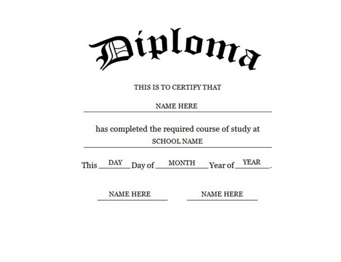 high school template diploma