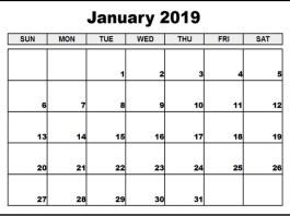 Blank January 2019 Calendar