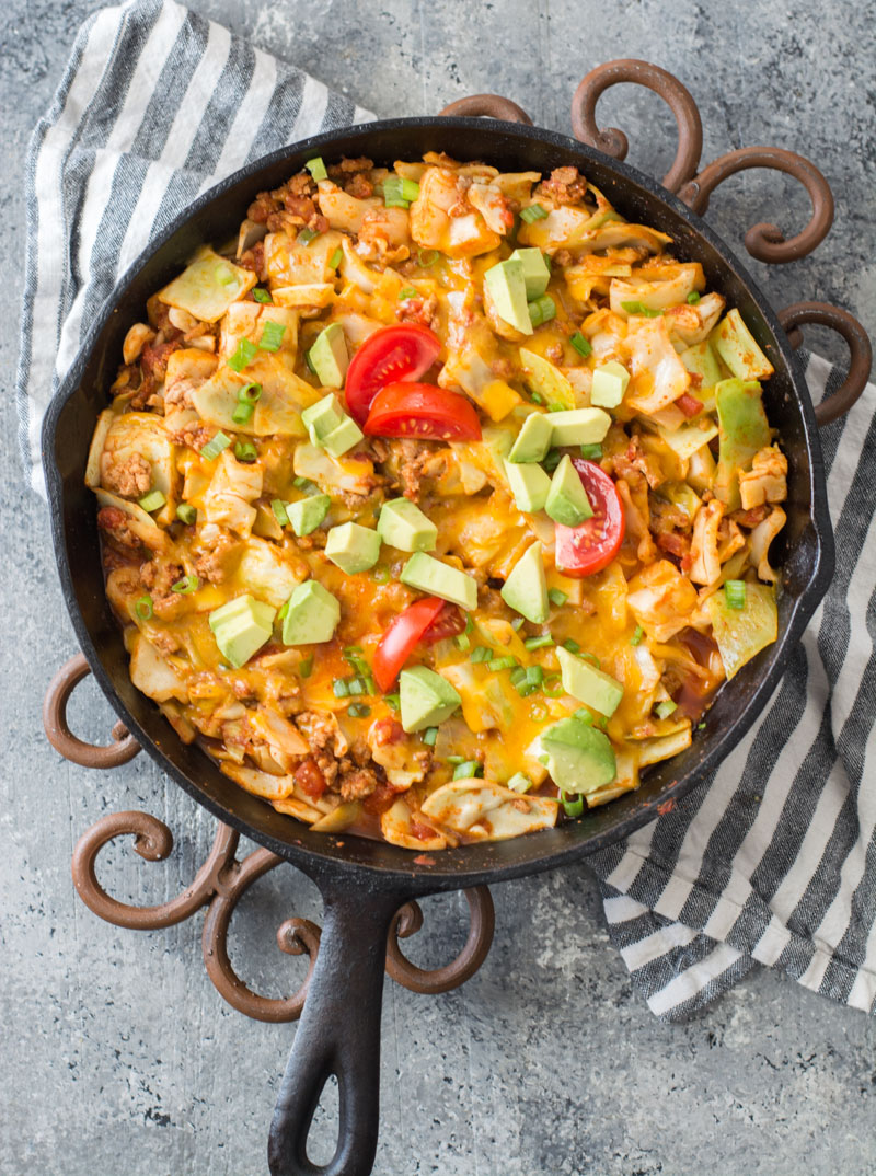 This easy One Pan Cheesy Taco Cabbage Skillet is packed with meat, cabbage, Mexican flavors and loaded with cheese! It is a low carb, keto dinner that everyone will love! #keto