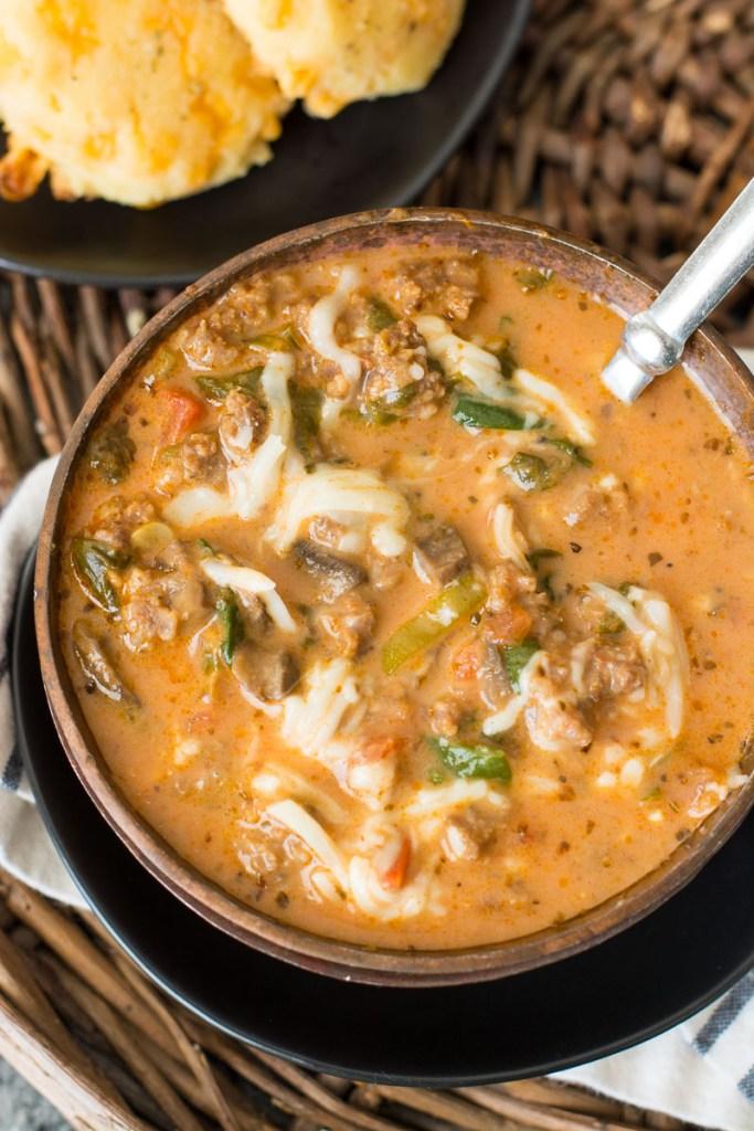 Instant Pot Keto Pizza Soup