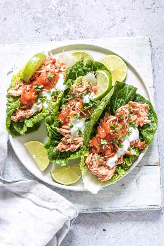 Looking for healthy lunch or dinner option that is quick and easy to make? Instant Pot Salsa Chicken Lettuce Wraps are the answer!
