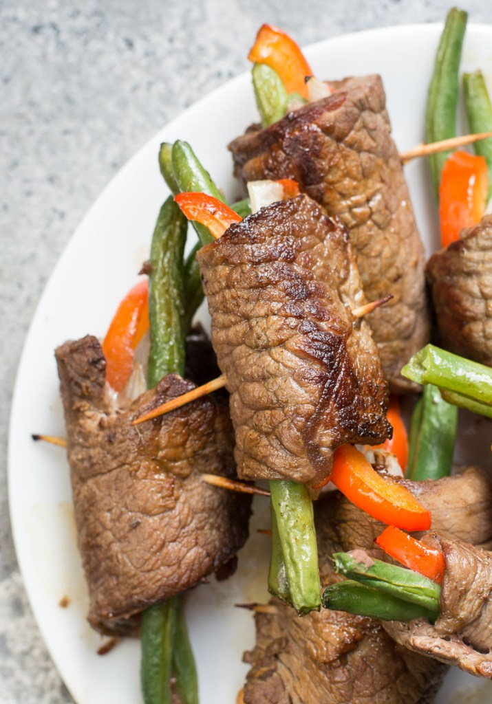 These Easy Keto Steak Wraps are a great all in one recipe! Flank steak is wrapped around fresh vegetables and cooked until tender!