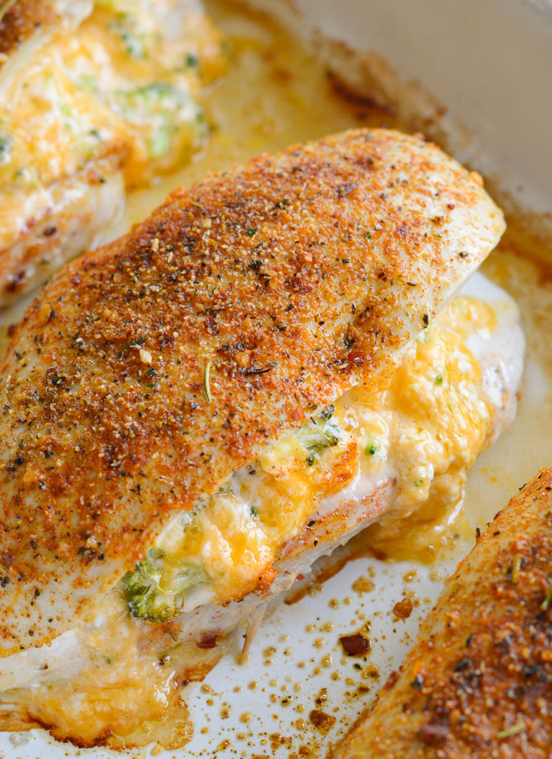 This Broccoli Cheddar Stuffed Chicken is a quick and easy keto dinner recipe around 2 net carbs per serving!