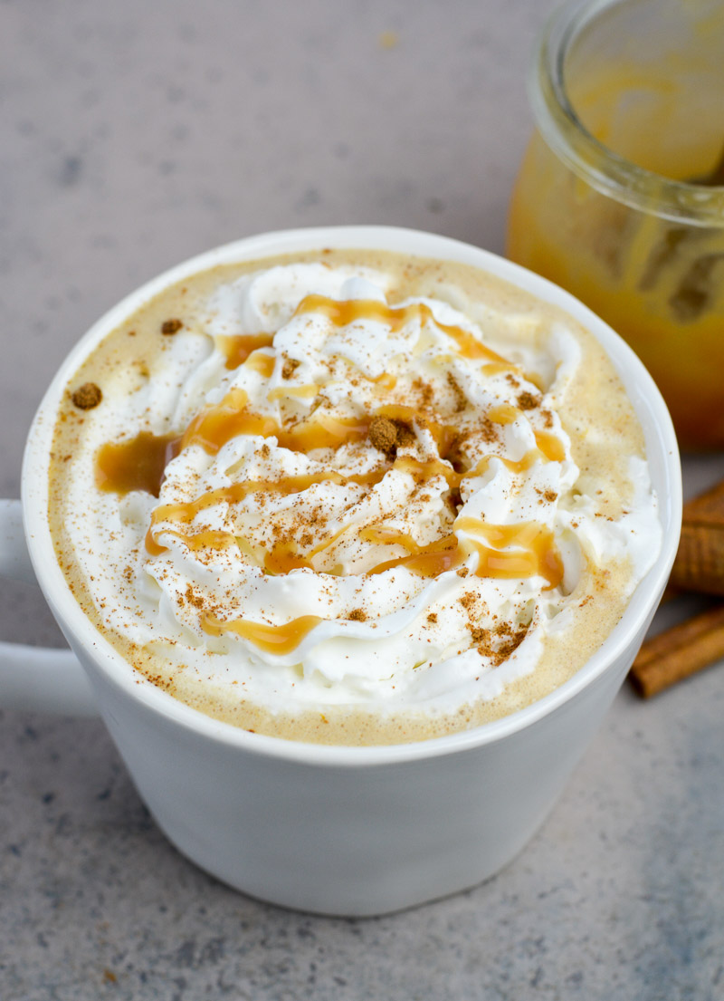 Forget the coffee shop, this Keto Pumpkin Spice Latte is gluten free, refined sugar free and contains less than 3 net carbs each! Drizzle with a little Keto Caramel Sauce for a decadent low carb latte!