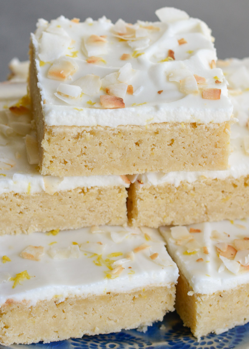 These refreshing Lemon Blondies are covered in a sweet lemon and cream cheese frosting! This keto-friendly treat has less than 3 net carbs per serving!