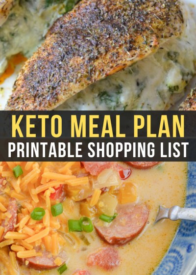 Week 15 of our Easy Keto Meal Plan include delicious Smoked Sausage Soup and Spinach and Artichoke Stuffed Chicken!