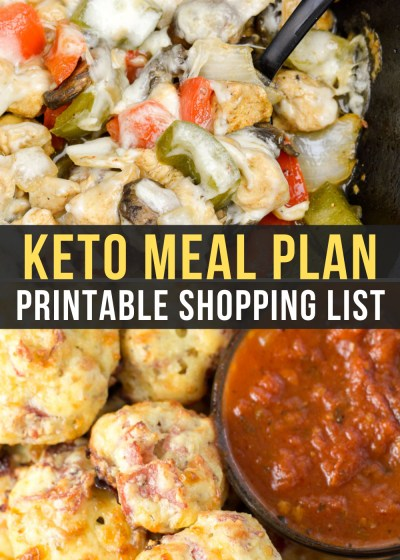 Week 19 of Easy Keto Meal Plan includes tasty keto dinners like Chicken Philly Cheesesteak Skillet and Pizza Night with pepperoni bites and cheesy zucchini breadsticks!