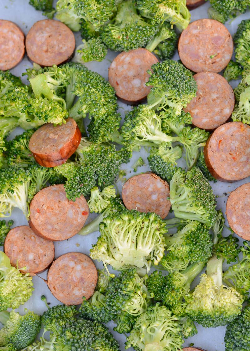 This Sausage Broccoli Cheddar Sheet Pan is the perfect easy weeknight meal! This meal includes four generous servings for less than 7 net carbs each!