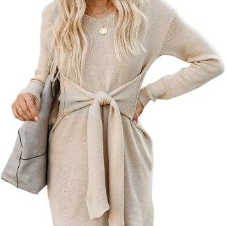 Acelitt Women's Casual V Neck Short/Long Sleeve Mini Dress,S-XL