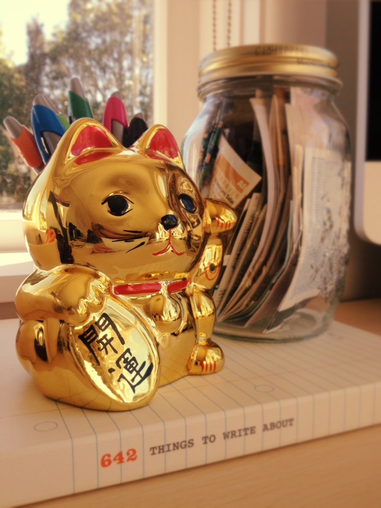 Golden Cat Pencil Holder