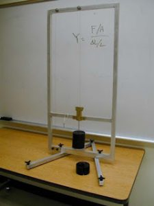 Modulus young apparatus (Pict:matterandinteractions.org)