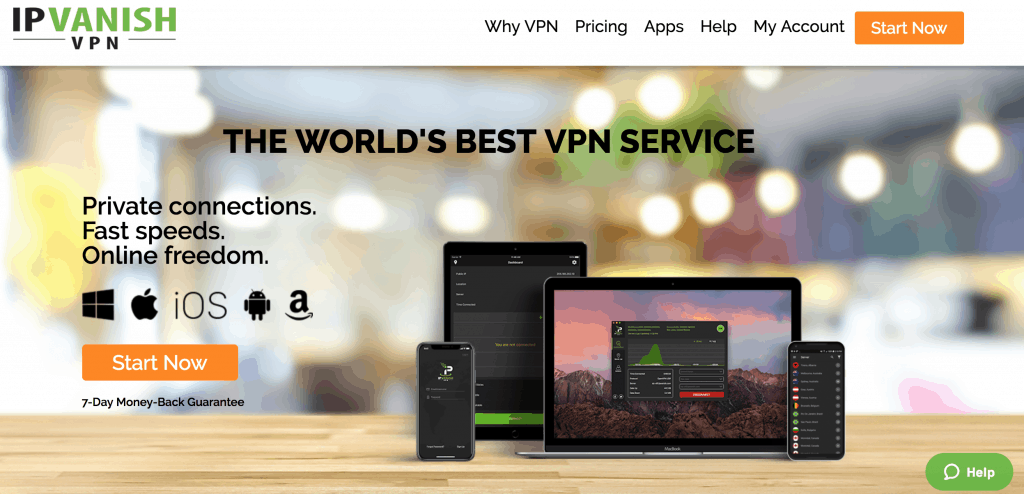 IPVanish review + homepage