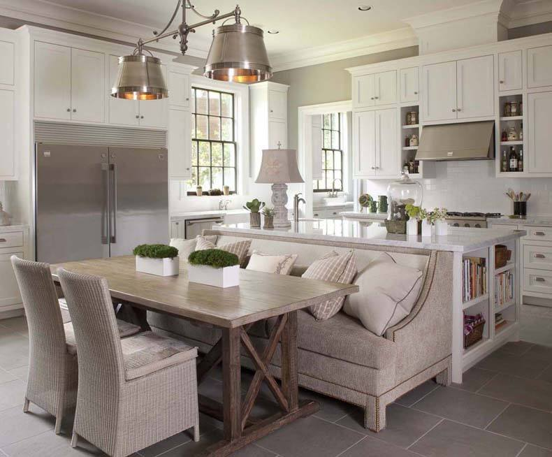 Dining Trestle Table Behind The Kitchen Island With Bench