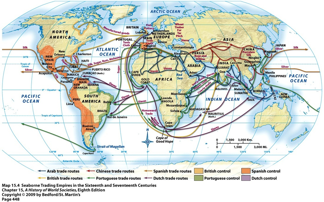 Map Routes Trade 1750