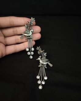 Bird studded long earring