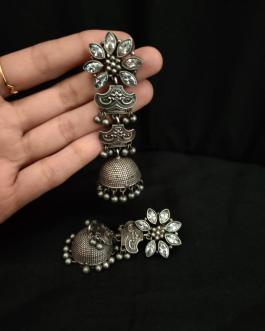 Flower stoned long jhumka