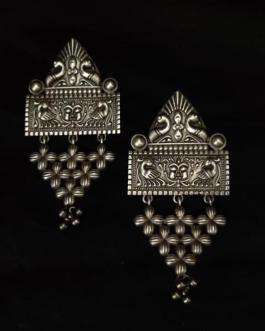 Rectangular stud peacock studded long earring