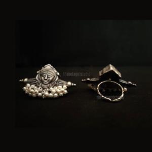 Silver look alike Goddess ring